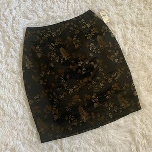 Oscar by Oscar de la Renta Black Floral Silk Skirt